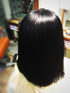 クセ毛 黒髪 ボブ ツヤ サラサラストレート
